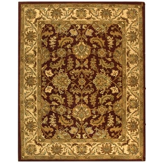 Safavieh Handmade Heritage Traditional Kashan Red/ Ivory Wool Rug (6' x 9')