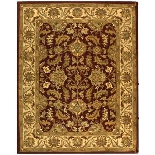 Safavieh Handmade Heritage Traditional Kashan Red/ Ivory Wool Rug (7'6 x 9'6)