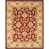 "Safavieh Handmade Heritage Traditional Kashan Red/ Ivory Wool Rug - 7'6"" x 9'6"""