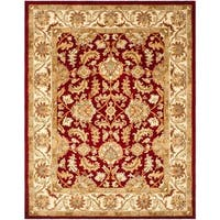 Safavieh Handmade Heritage Traditional Kashan Red/ Ivory Wool Rug - 7'6 x 9'6