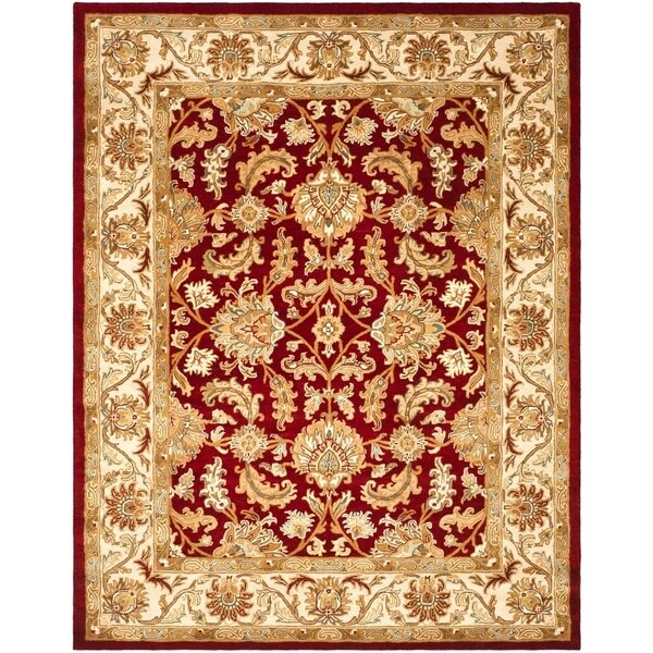 "Safavieh Handmade Heritage Traditional Kashan Red/ Ivory Wool Rug - 8'3"" x 11'"