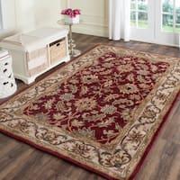 "Safavieh Handmade Heritage Traditional Kashan Red/ Ivory Wool Rug - 9'6"" x 13'6"""