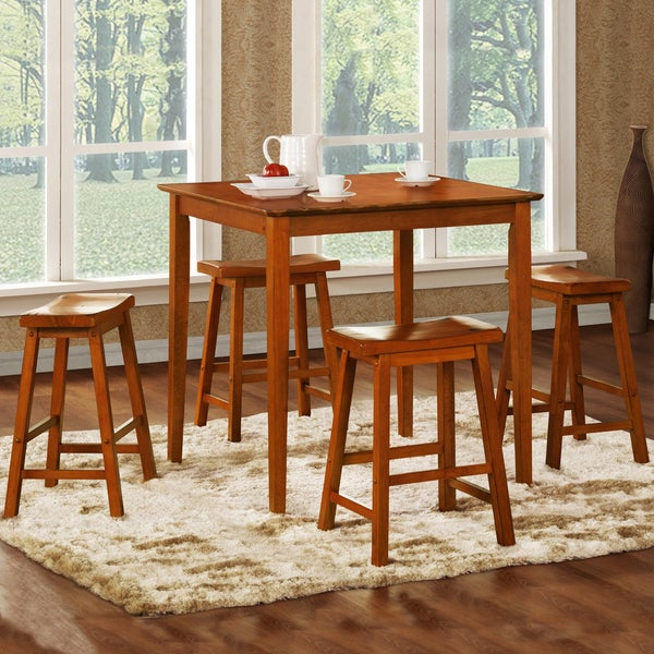TRIBECCA HOME Salvador Oak 5-piece Pub Set with 24-inch Stools