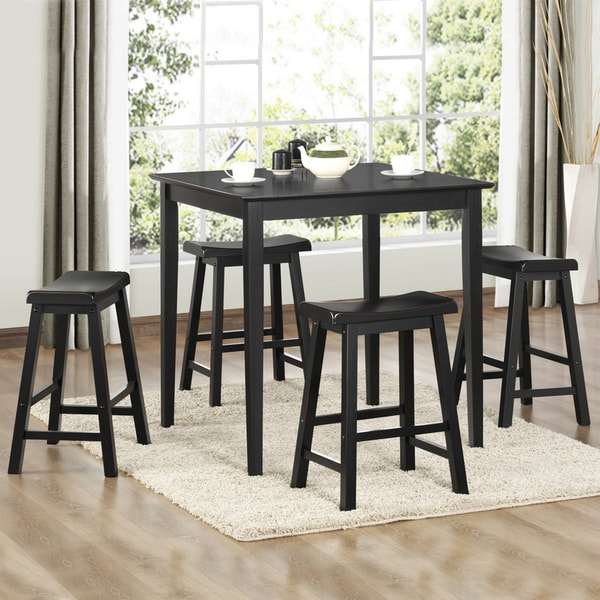 Salvador Black 5-piece Pub Set with 24-inch Stools by iNSPIRE Q Bold