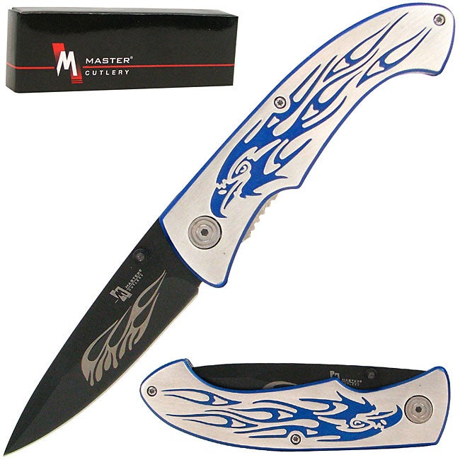 Eagle Engraved 7.75-inch Blue Folding Pocket Knife