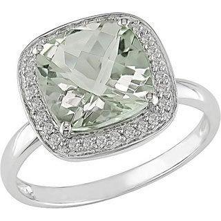 Miadora 14k White Gold Green Amethyst and 1/10ct TDW Diamond Ring (I-J, I1-I2)