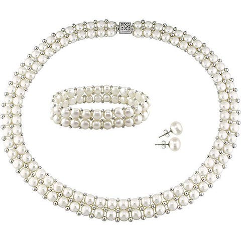 Miadora Sterling Silver Double Row Freshwater Cultured Pearl Strand Jewelry Set (6-8 mm) - White
