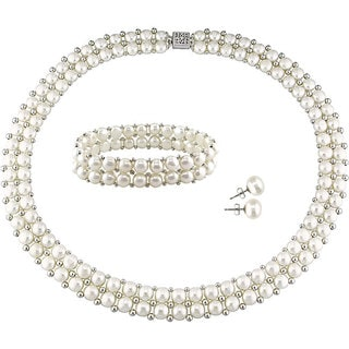 Miadora Sterling Silver Double Row Freshwater Cultured Pearl Strand Necklace, Bracelet, and Stud Earrings Set (6-8 mm)