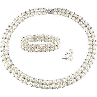 Miadora Sterling Silver Double Row Freshwater Cultured Pearl Strand Jewelry Set (6-8 mm)