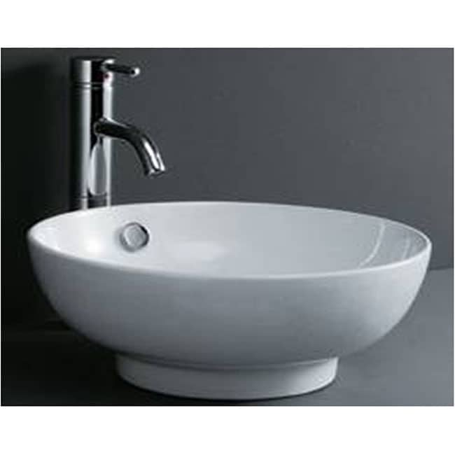 Round Porcelain White Bathroom Vessel Sink - Thumbnail 0