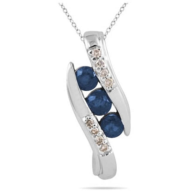 Marquee Jewels 10k White Gold 3-stone Blue Sapphire and Diamond Pendant
