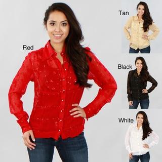 Kaelyn Max Women's Long-sleeve Sheer Blouse