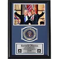 Barack Obama 12x18 Customframed Print with Patch