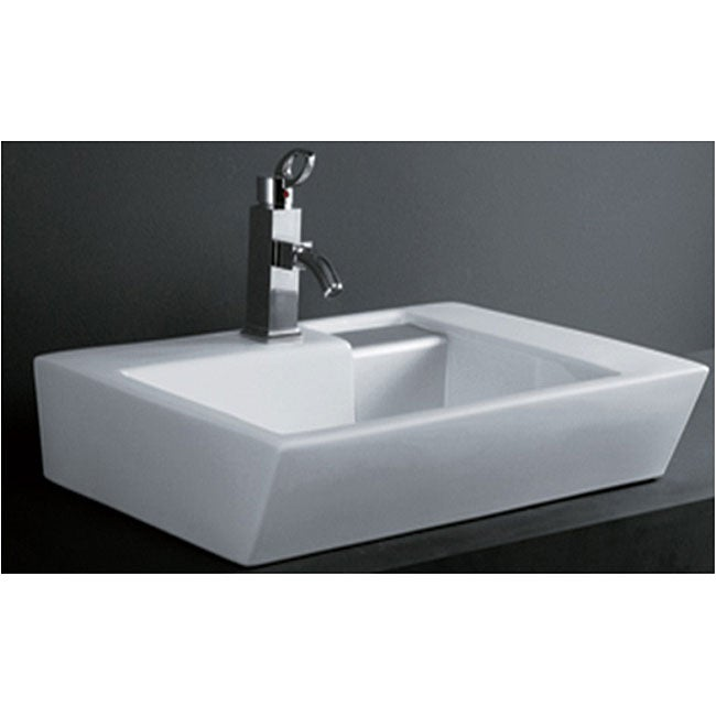 DeNovo Unique Rectangle Porcelain Bath Vessel Sink - Thumbnail 0