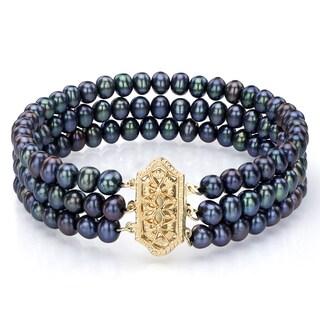 DaVonna 14k Gold Black FW Pearl Triple-strand Bracelet (4.5-5 mm)