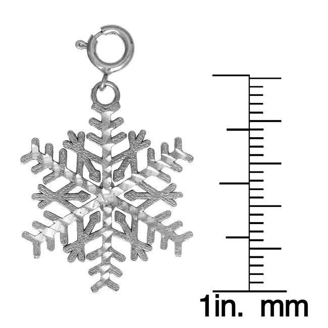 14k White Gold Snowflake Charm - Thumbnail 1