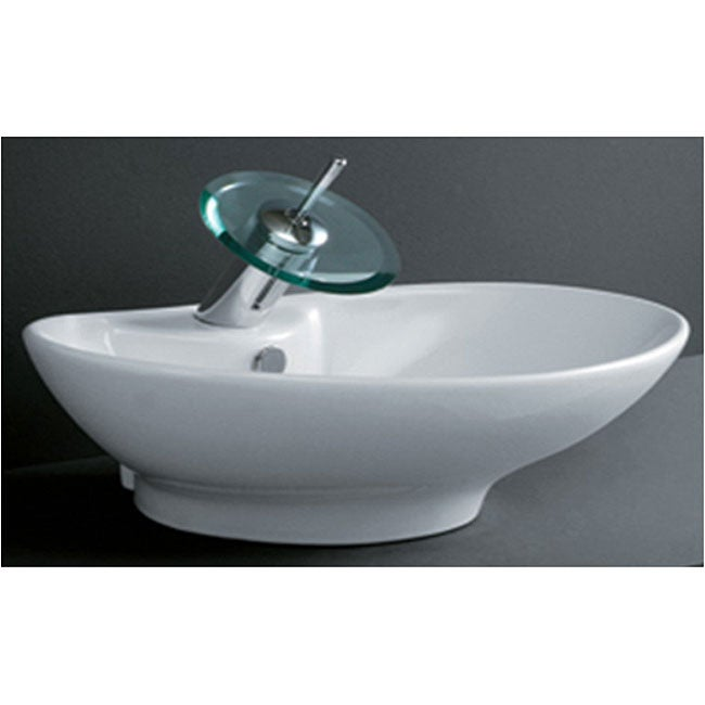 Oval Tapered Porcelain Bathroom Vessel Sink