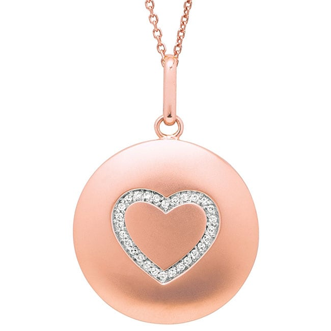 14k Rose Gold 1/10ct TDW Diamond Heart Necklace