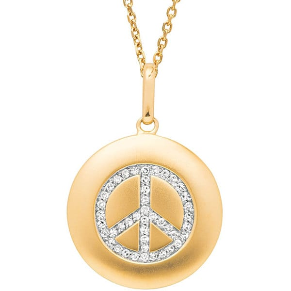 Shop 14k Gold 1 6ct Tdw Diamond Peace Sign Necklace Free