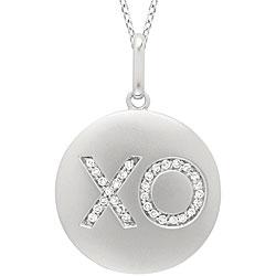 14k White Gold 1/10ct TDW Diamond XO Disc Necklace