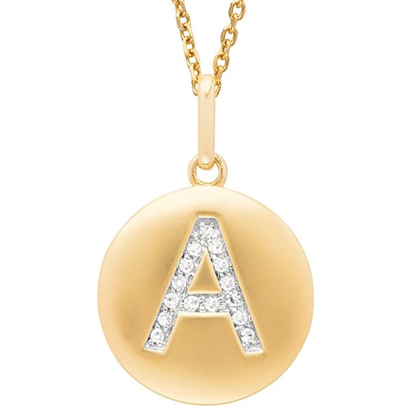 14k Yellow Gold Diamond Initial Monogram Disc Necklace Free