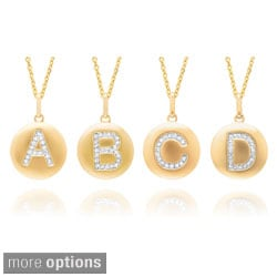 14k Yellow Gold Diamond Initial Monogram Disc Necklace