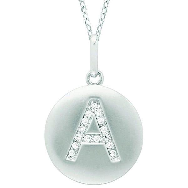 14k white gold diamond accent initial monogram disc necklace free 14k white gold diamond accent initial monogram disc necklace mozeypictures Choice Image