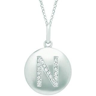 14k White Gold Diamond Accent Initial Monogram Disc Necklace
