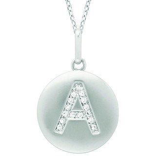 14k White Gold Diamond Accent Initial Monogram Disc Necklace