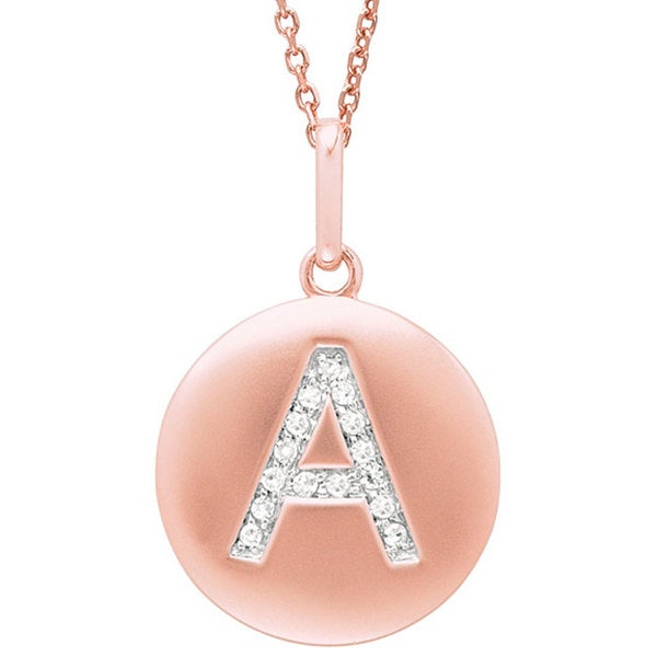 14k Rose Gold Diamond Initial Monogram Disc Necklace