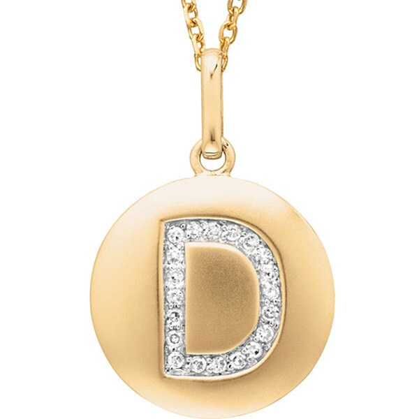 14k Yellow Gold Diamond Initial 'D' Disc Necklace