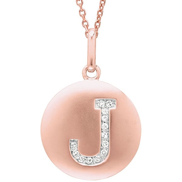 14k Rose Gold Diamond Initial 'J' Disc Necklace