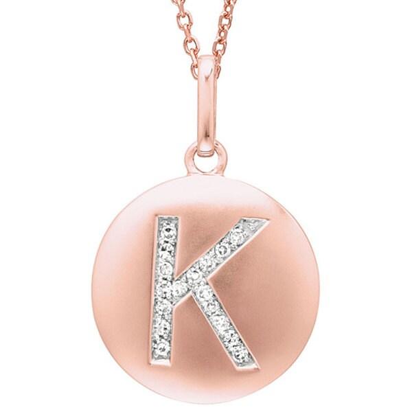14k Rose Gold Diamond Initial 'K' Disc Necklace