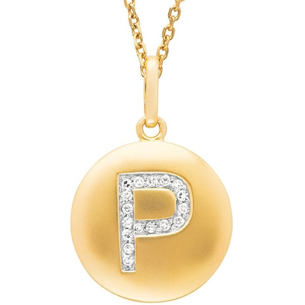 14k Yellow Gold 1/20 to 1/10ct Diamond Initial P Disc Pendant