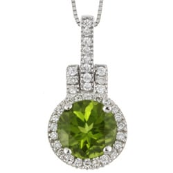 14k Gold 1/4ct TDW Diamond and Peridot Necklace (G-H, SI2)