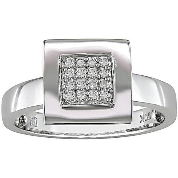 10k White Gold 1/10ct TDW Square Diamond Ring