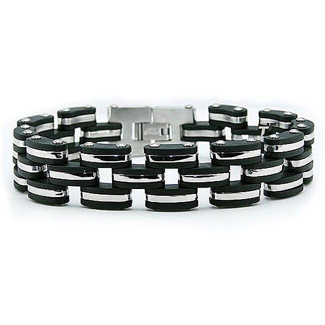 Black Stainless-Steel and Rubber Men's Bracelet