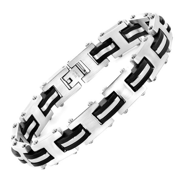 Stainless Steel Men's Rubber Accent Bracelet
