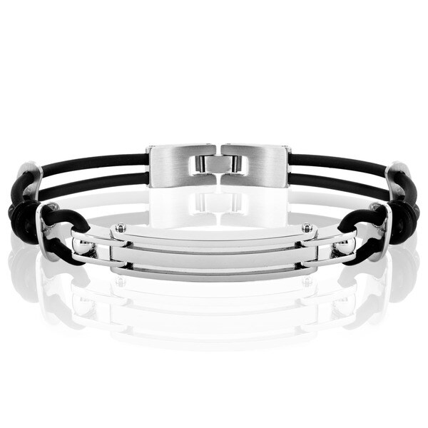 Stainless Steel and Black Rubber Men's ID Bracelet