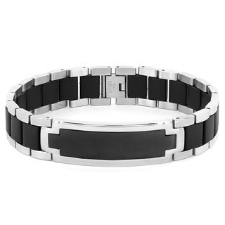Polished Stainless Steel and Black Rubber Inlay ID Bracelet (16mm)