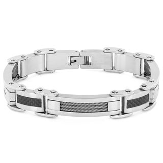 Brushed Stainless Steel Carbon Fiber and Cable Inlay Link Bracelet