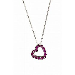 Simon Frank 14k White Gold Overlay Rosetta Pink CZ Heart Necklace