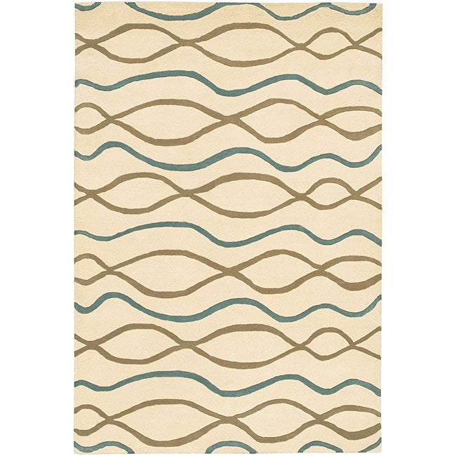 Artist's Loom Hand-tufted Contemporary Geometric Wool Rug - 5'x7'6