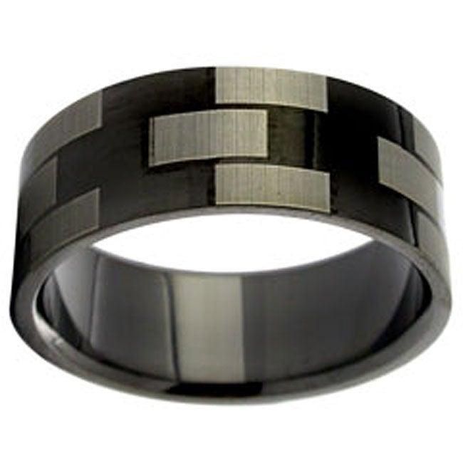 Black Stainless Steel Geometric Design Ring