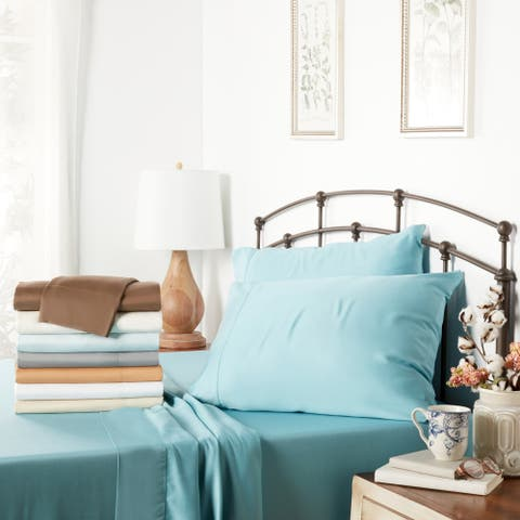 Solid Colored Rayon from Bamboo Breathable Deep Pocket Bed Sheet Set