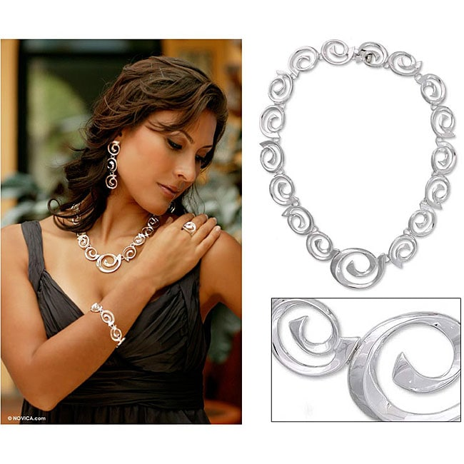 Soul's Inception Elegant Spirals of Highly Polished 925 Sterling Silver Handmade Taxco Modern Womens Collar Necklace (Mexico)