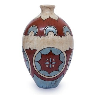 A Splendid Year Terra Cotta Turquoise Ivory Burnished Clay with Geometric Patterns Decor Accent Art Work Ceramic Vase (Mexico)