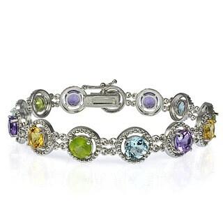 Glitzy Rocks Sterling Silver 11.1 TCW Gemstone Tennis Bracelet