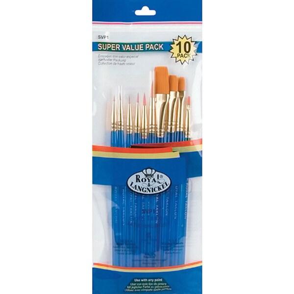 Gold Taklon Beveled-handle Acrylic Paint Brush Set (Set of 10)