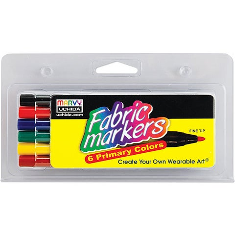 Primary Color Fabric Marker Fine Tip Markers (Pack of 6)